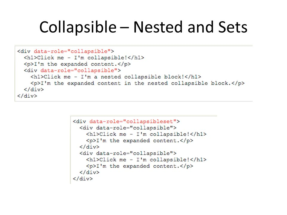 Collapsible – Nested and Sets