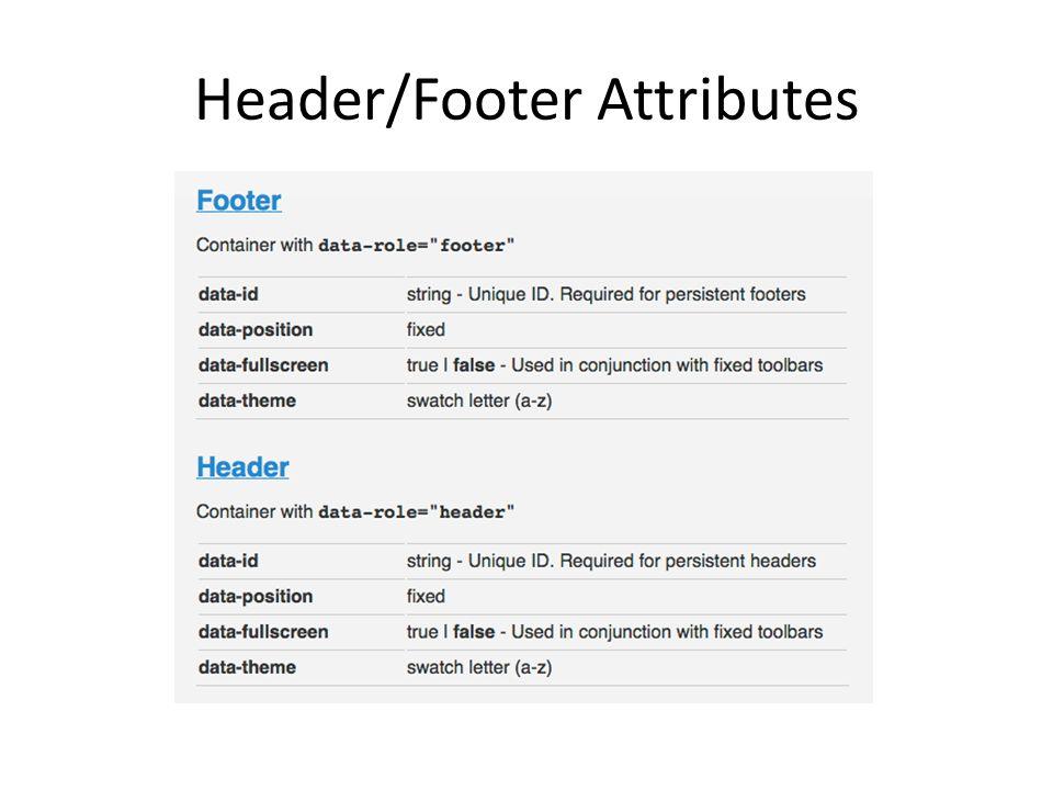 Header/Footer Attributes