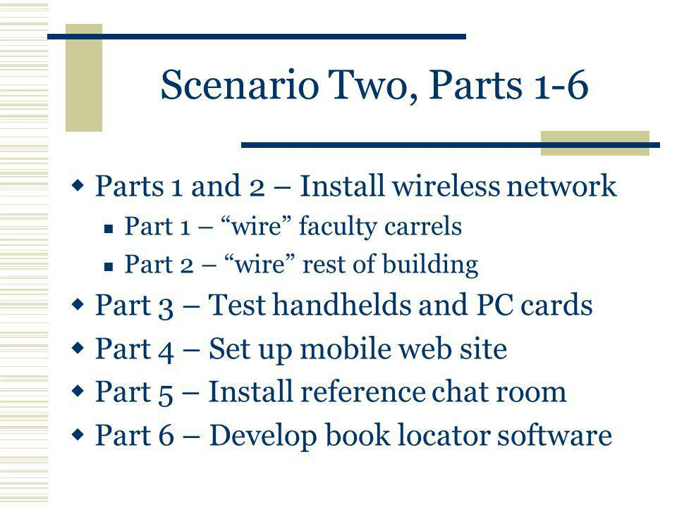 Scenario Two, Parts 1-6 Parts 1 and 2 – Install wireless network Part 1 – wire faculty carrels Part 2 – wire rest of building Part 3 – Test handhelds and PC cards Part 4 – Set up mobile web site Part 5 – Install reference chat room Part 6 – Develop book locator software