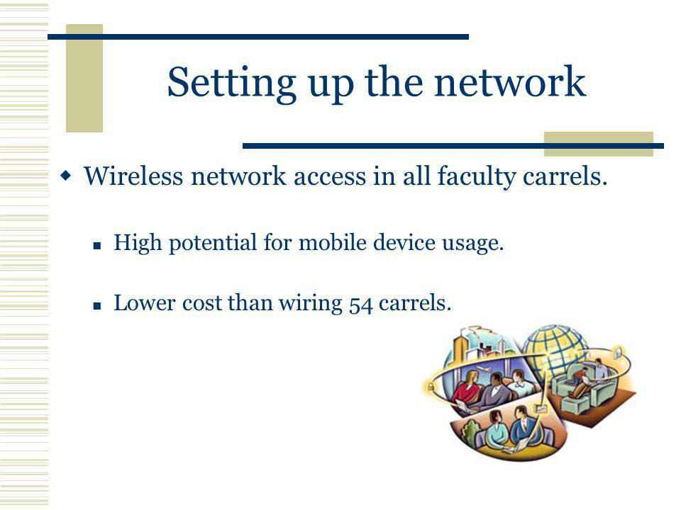 Setting up the network Wireless network access in all faculty carrels.