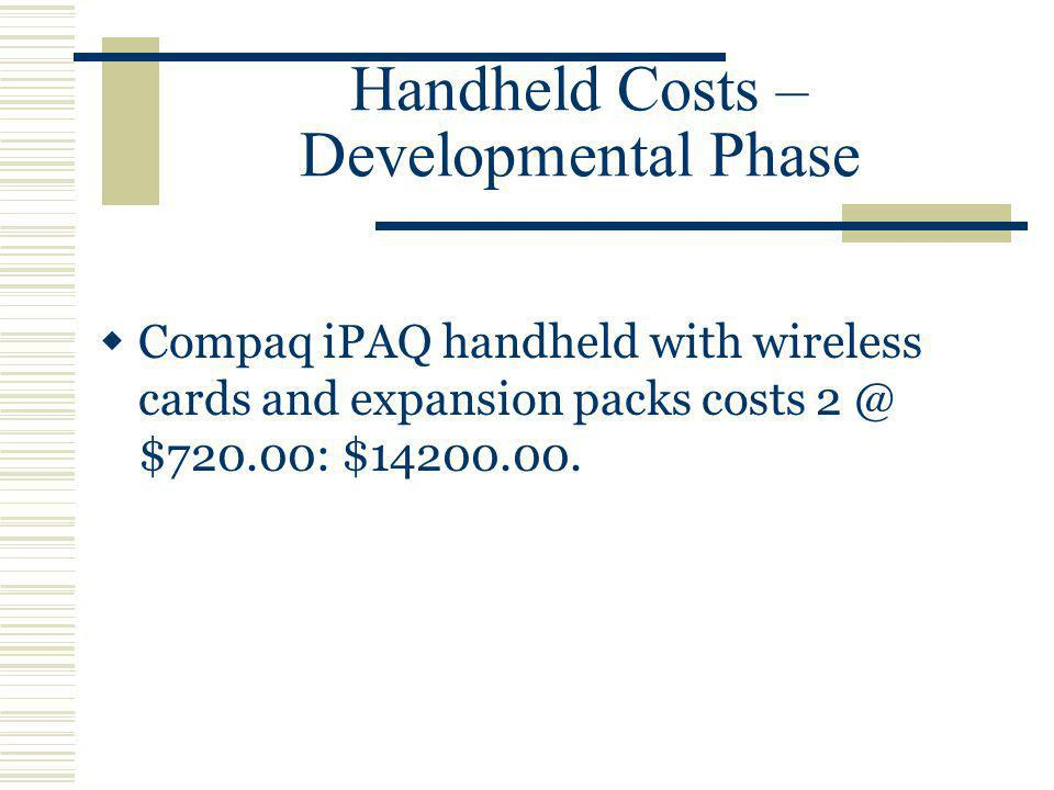 Handheld Costs – Developmental Phase Compaq iPAQ handheld with wireless cards and expansion packs costs $720.00: $