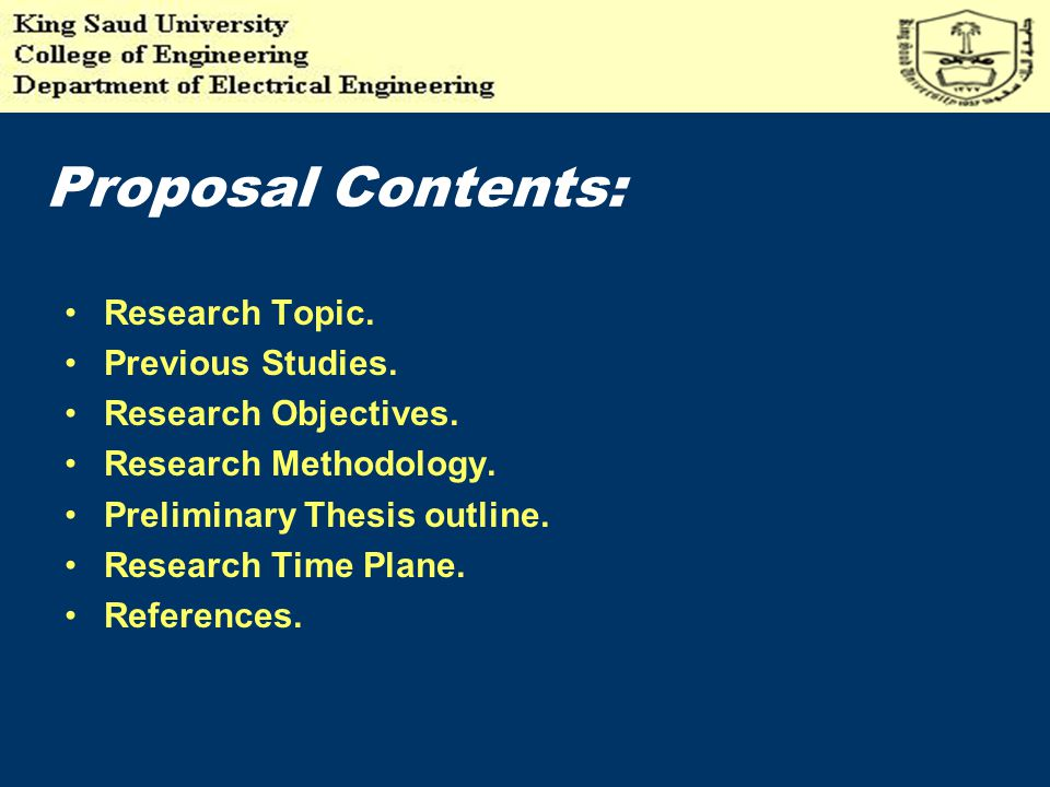 Proposal Contents: Research Topic. Previous Studies.