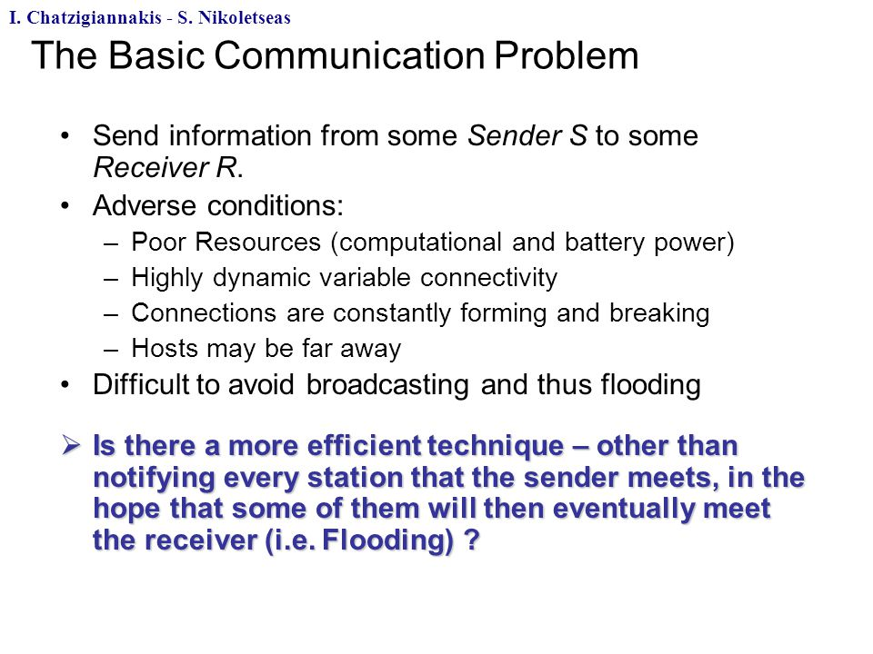 The Basic Communication Problem Send information from some Sender S to some Receiver R.