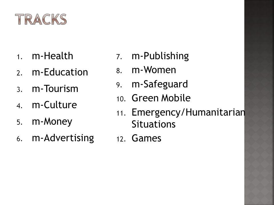 1. m-Health 2. m-Education 3. m-Tourism 4. m-Culture 5.