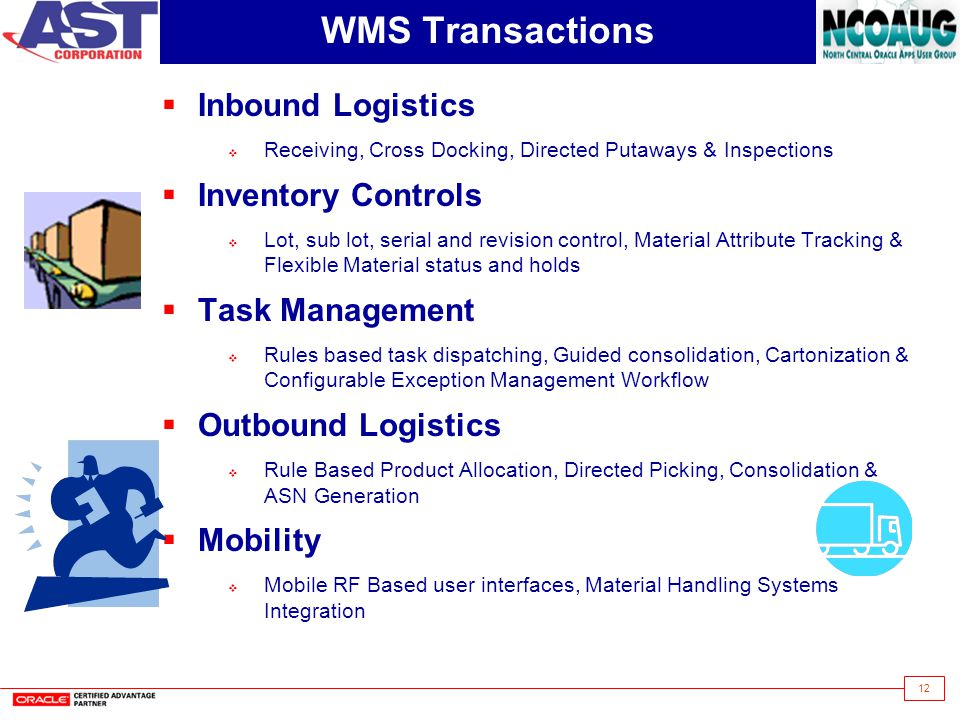 12 WMS Transactions Inbound Logistics Receiving, Cross Docking, Directed Putaways & Inspections Inventory Controls Lot, sub lot, serial and revision c