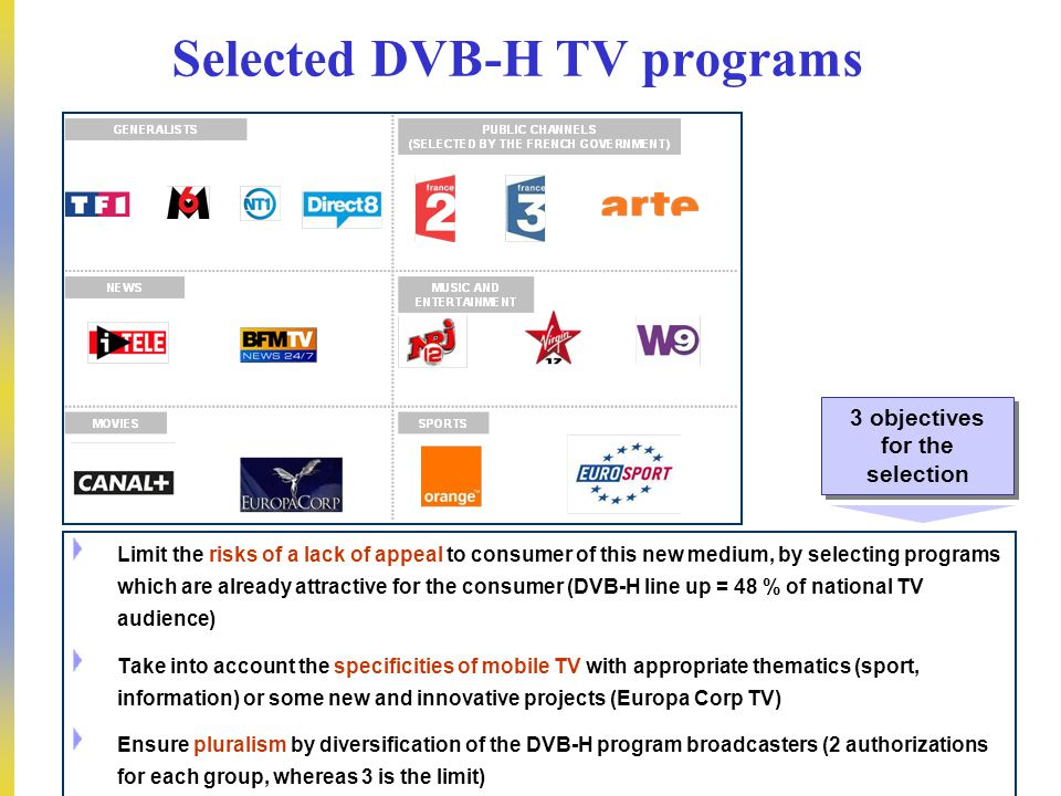 DEP – Pierre PETILLAULT, Didier GUILLOUX, Bernard CELLI – 20/10/2006 7 Selected DVB-H TV programs Limit the risks of a lack of appeal to consumer of this new medium, by selecting programs which are already attractive for the consumer (DVB-H line up = 48 % of national TV audience) Take into account the specificities of mobile TV with appropriate thematics (sport, information) or some new and innovative projects (Europa Corp TV) Ensure pluralism by diversification of the DVB-H program broadcasters (2 authorizations for each group, whereas 3 is the limit) 3 objectives for the selection