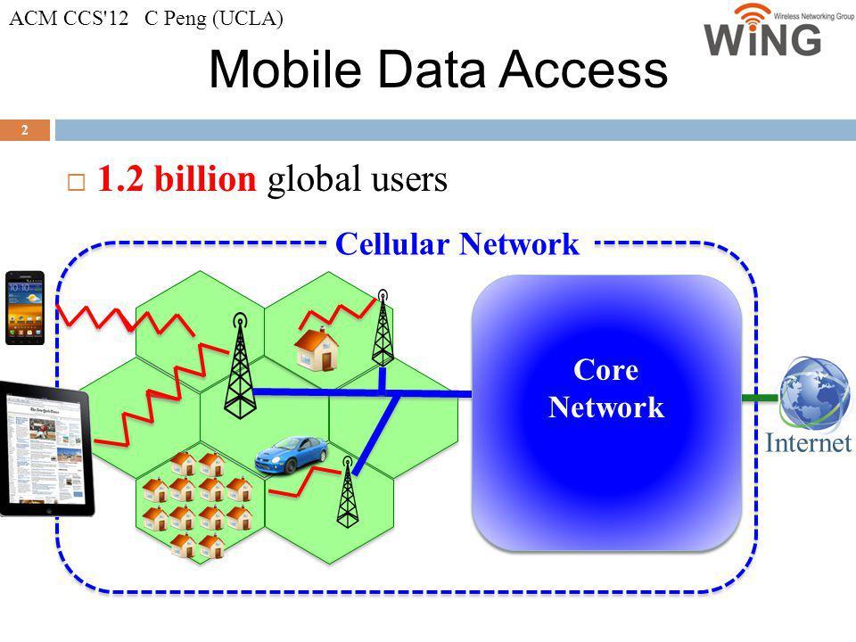 Mobile Data Access 2 1.2 billion global users Internet Core Network Cellular Network ACM CCS'12 C Peng (UCLA)