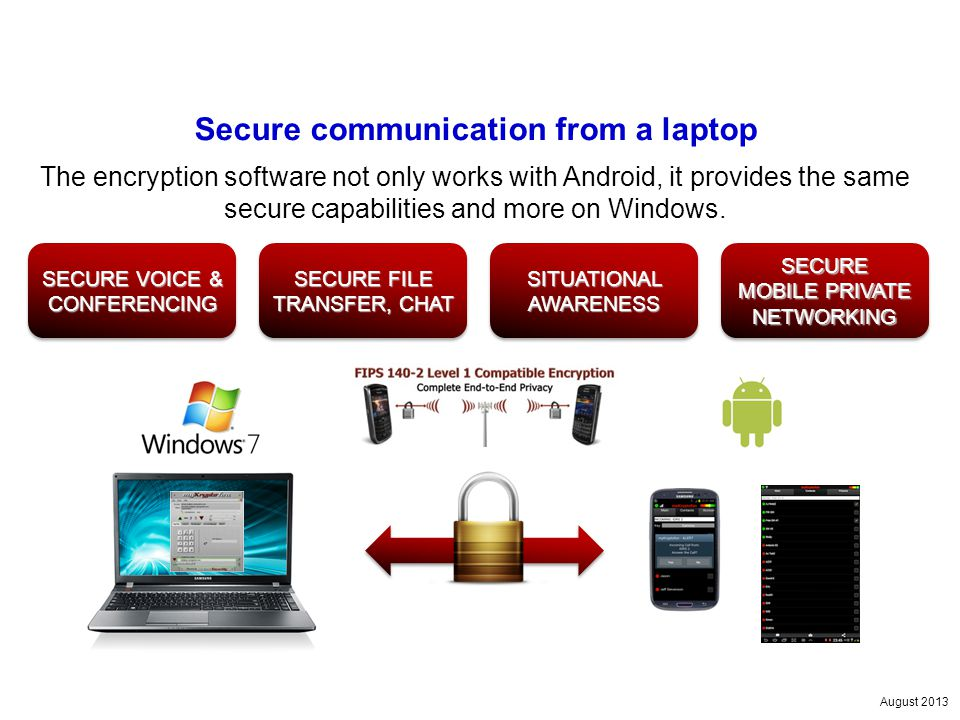 August 2013 Secure communication from a laptop The encryption software not only works with Android, it provides the same secure capabilities and more on Windows.