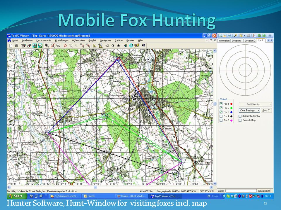 Hunter Software, Hunt-Window for visiting foxes incl. map 11