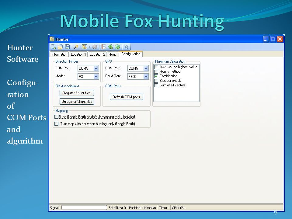 Hunter Software Configu- ration of COM Ports and algurithm 13