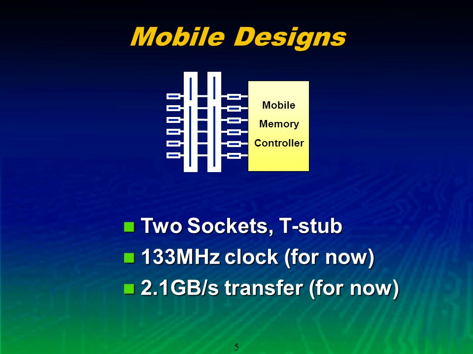 5 Mobile Designs Two Sockets, T-stub Two Sockets, T-stub 133MHz clock (for now) 133MHz clock (for now) 2.1GB/s transfer (for now) 2.1GB/s transfer (for now) Mobile Memory Controller