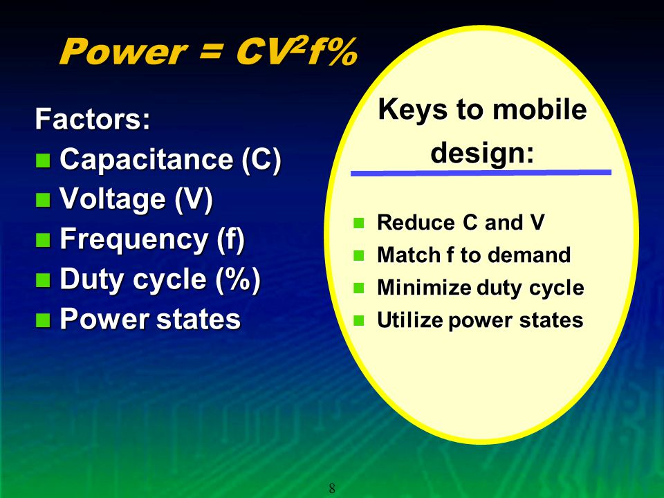 8 Power = CV 2 f% Factors: Capacitance (C) Capacitance (C) Voltage (V) Voltage (V) Frequency (f) Frequency (f) Duty cycle (%) Duty cycle (%) Power states Power states Keys to mobile design: Reduce C and V Reduce C and V Match f to demand Match f to demand Minimize duty cycle Minimize duty cycle Utilize power states Utilize power states