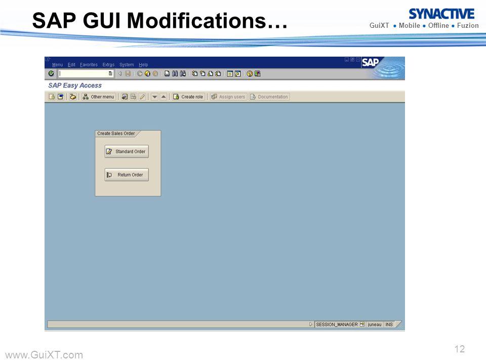 www.GuiXT.com GuiXT Mobile Offline Fuzion 12 SAP GUI Modifications…