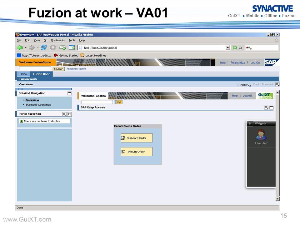 www.GuiXT.com GuiXT Mobile Offline Fuzion 15 Fuzion at work – VA01