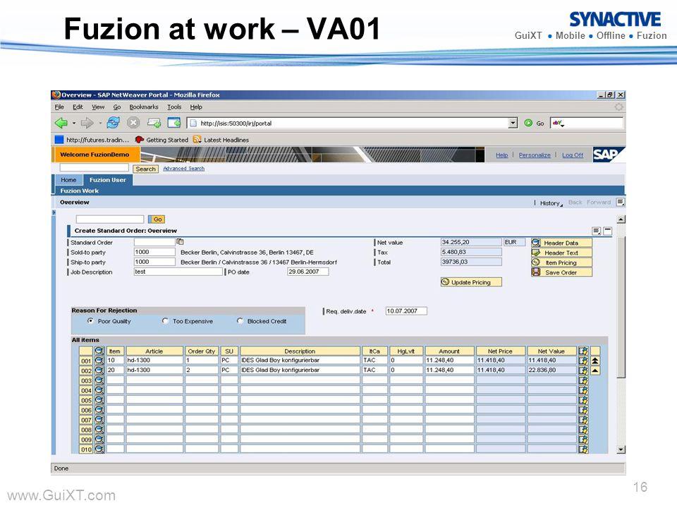 www.GuiXT.com GuiXT Mobile Offline Fuzion 16 Fuzion at work – VA01