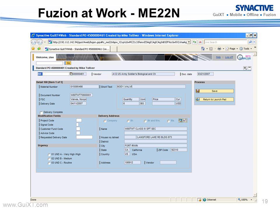 www.GuiXT.com GuiXT Mobile Offline Fuzion 19 Fuzion at Work - ME22N