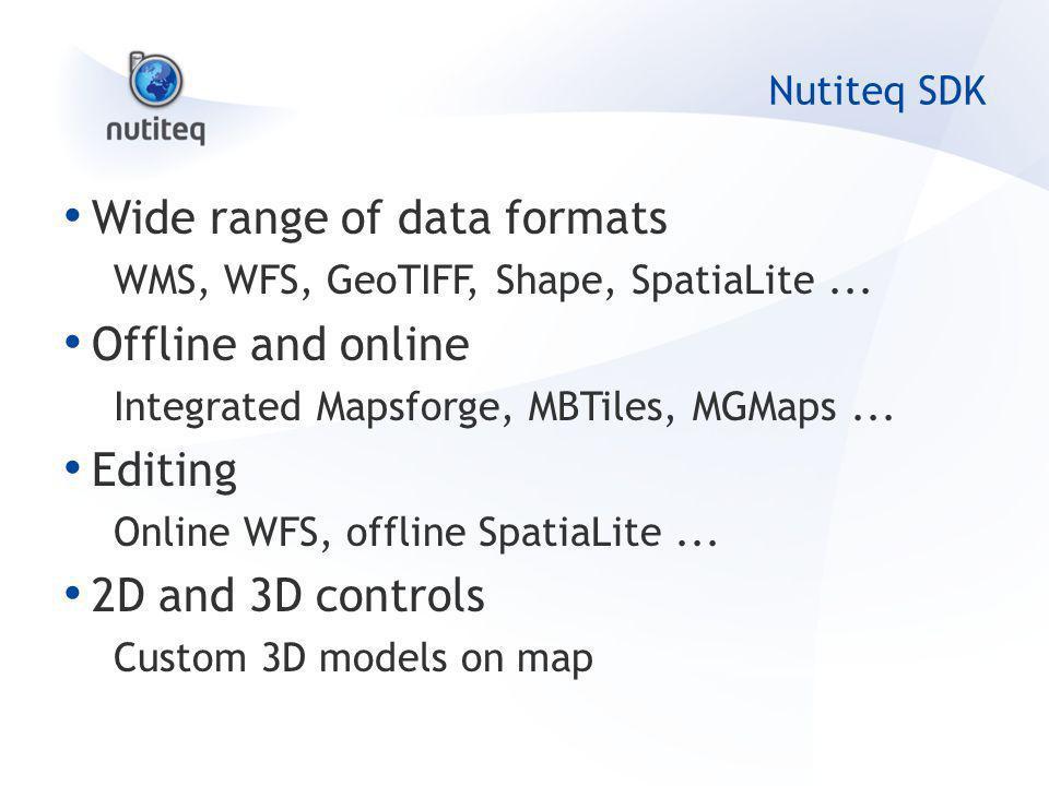 Nutiteq SDK Wide range of data formats WMS, WFS, GeoTIFF, Shape, SpatiaLite...