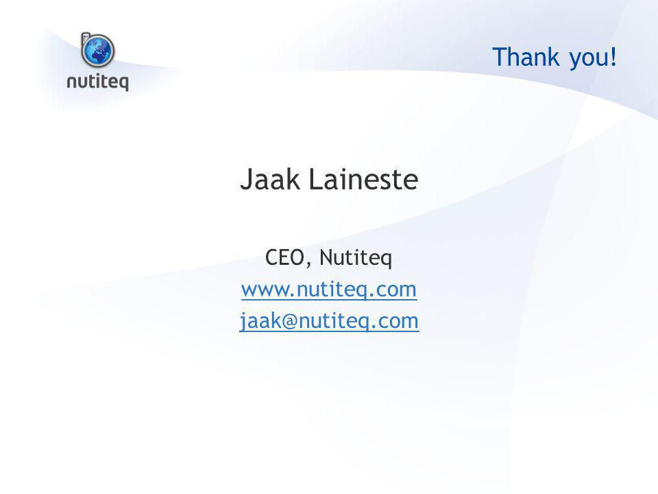 Thank you! Jaak Laineste CEO, Nutiteq www.nutiteq.com jaak@nutiteq.com