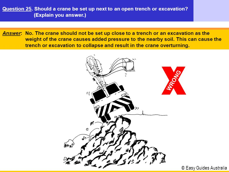 © Easy Guides Australia Answer: No. The crane should not be set up close to a trench or an excavation as the weight of the crane causes added pressure