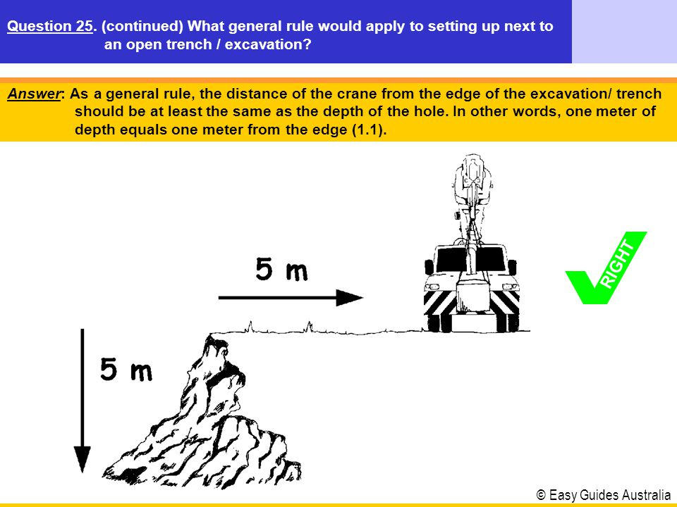 © Easy Guides Australia Answer: As a general rule, the distance of the crane from the edge of the excavation/ trench should be at least the same as th
