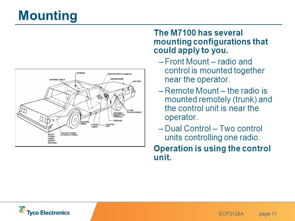 ECP3128Apage 11 Mounting The M7100 has several mounting configurations that could apply to you. –Front Mount – radio and control is mounted together n