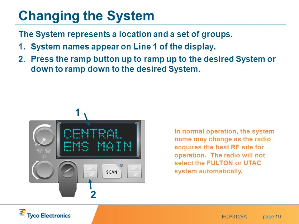 ECP3128Apage 19 Changing the System The System represents a location and a set of groups. 1.System names appear on Line 1 of the display. 2.Press the