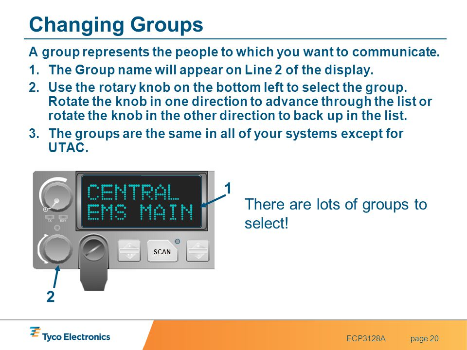 ECP3128Apage 20 Changing Groups A group represents the people to which you want to communicate. 1.The Group name will appear on Line 2 of the display.