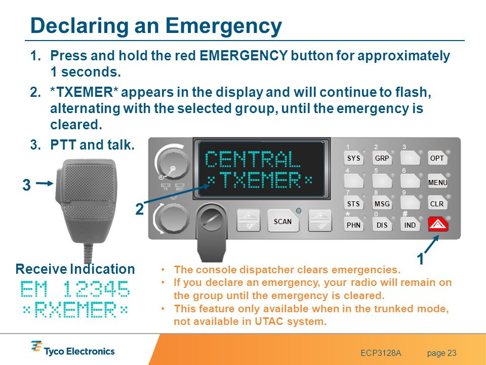ECP3128Apage 23 Declaring an Emergency 1.Press and hold the red EMERGENCY button for approximately 1 seconds. 2.*TXEMER* appears in the display and wi
