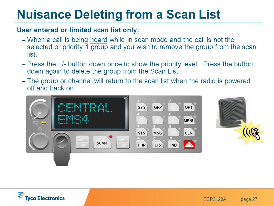 ECP3128Apage 27 Nuisance Deleting from a Scan List User entered or limited scan list only: –When a call is being heard while in scan mode and the call