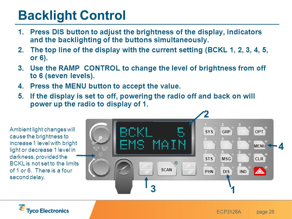 ECP3128Apage 28 Backlight Control 1.Press DIS button to adjust the brightness of the display, indicators and the backlighting of the buttons simultane