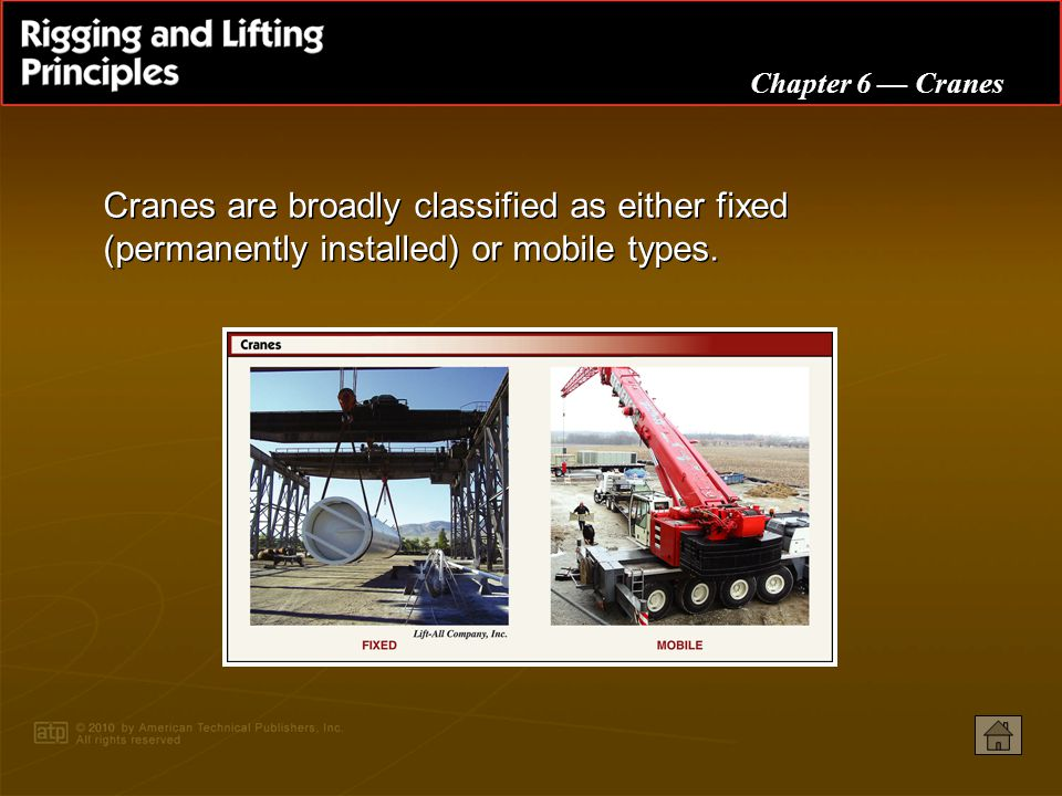 Chapter 6 Cranes Cranes are broadly classified as either fixed (permanently installed) or mobile types.
