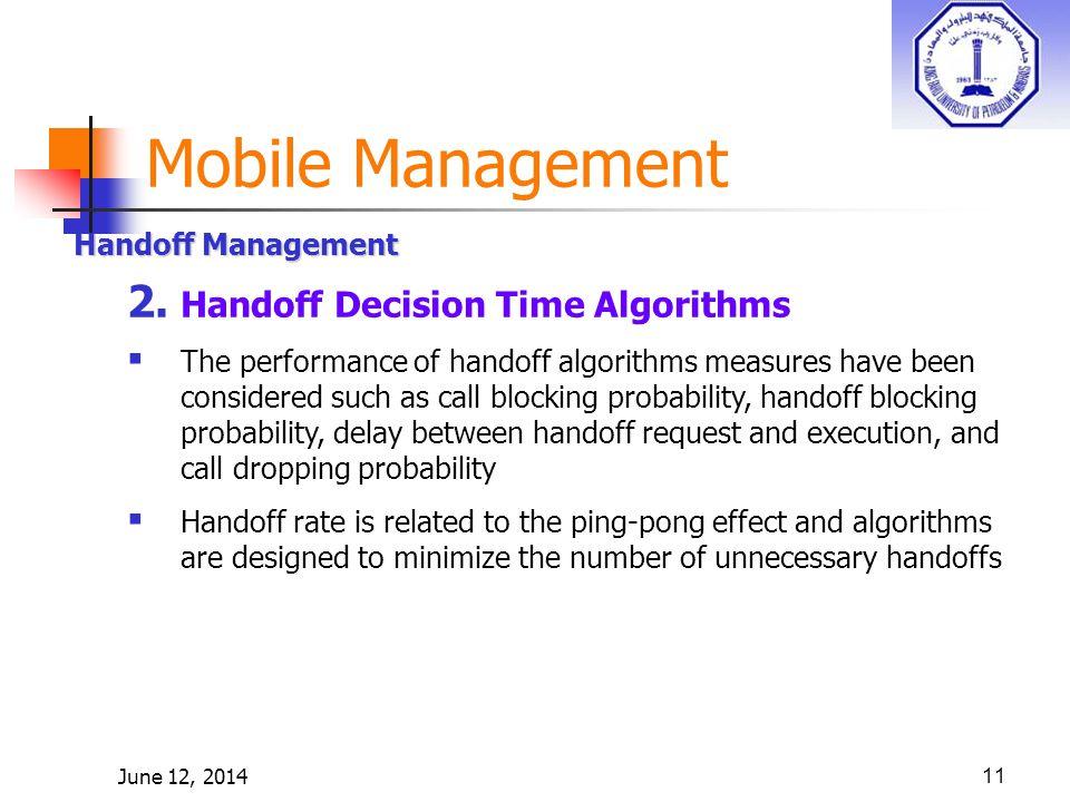 June 12, 201411 Handoff Management 2.
