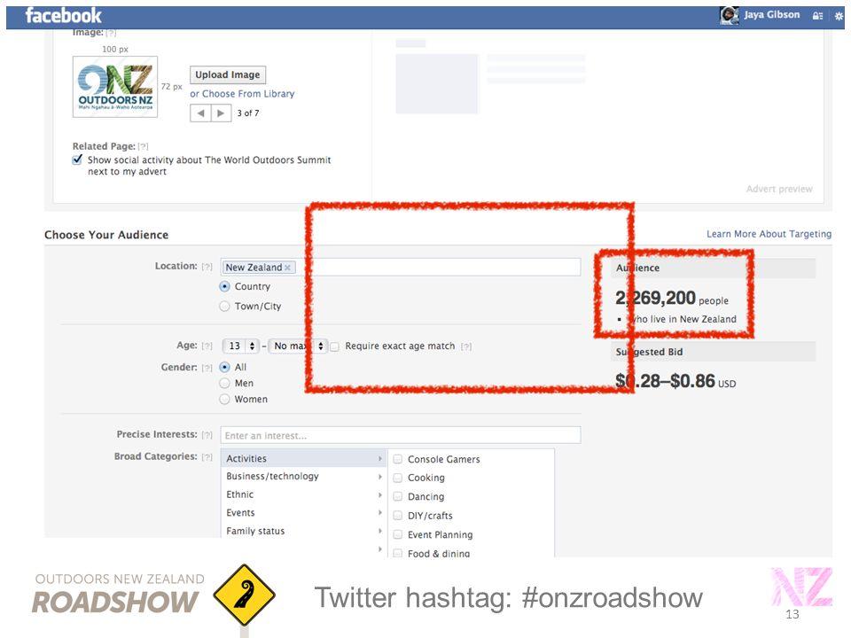 13 Twitter hashtag: #onzroadshow 13
