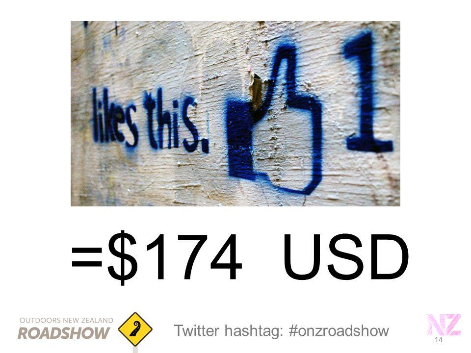 14 Twitter hashtag: #onzroadshow 14 =$174 USD