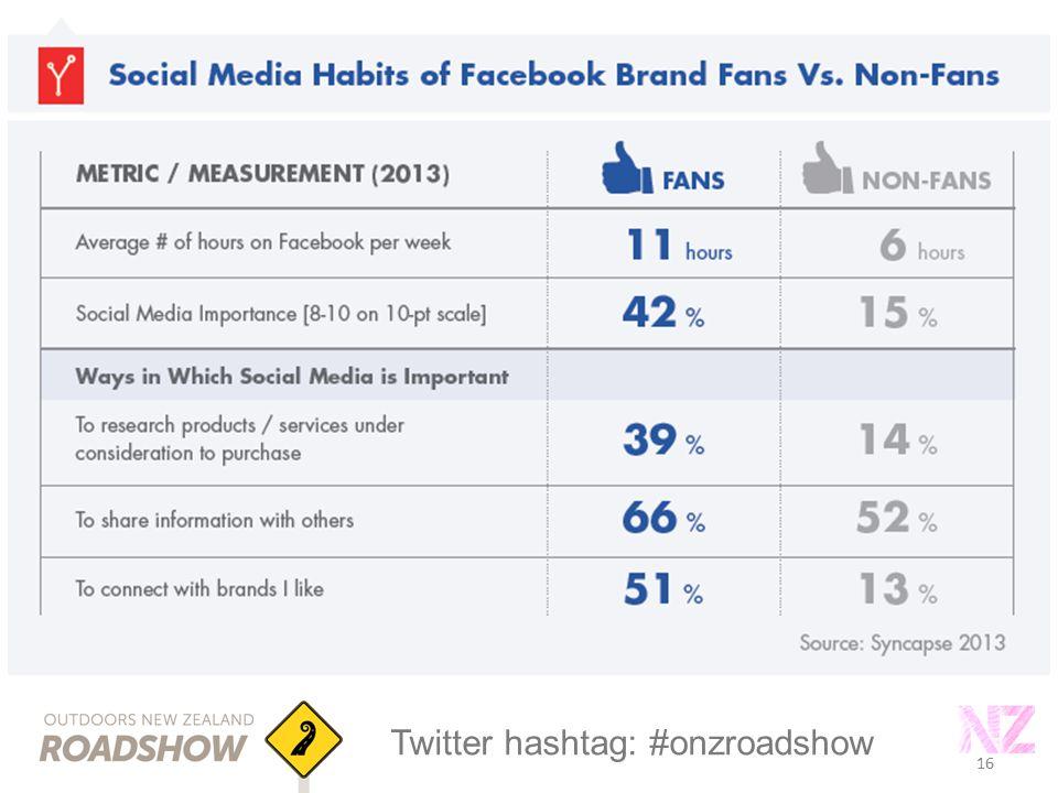16 Twitter hashtag: #onzroadshow 16