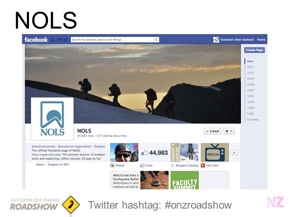 Twitter hashtag: #onzroadshow NOLS