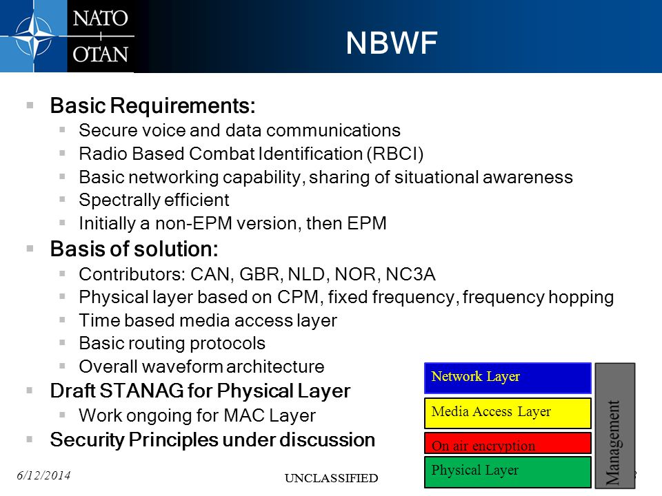 6/12/201418 UNCLASSIFIED 18 UNCLASSIFIED NBWF Basic Requirements: Secure voice and data communications Radio Based Combat Identification (RBCI) Basic networking capability, sharing of situational awareness Spectrally efficient Initially a non-EPM version, then EPM Basis of solution: Contributors: CAN, GBR, NLD, NOR, NC3A Physical layer based on CPM, fixed frequency, frequency hopping Time based media access layer Basic routing protocols Overall waveform architecture Draft STANAG for Physical Layer Work ongoing for MAC Layer Security Principles under discussion 18 Physical Layer Media Access Layer Network Layer On air encryption