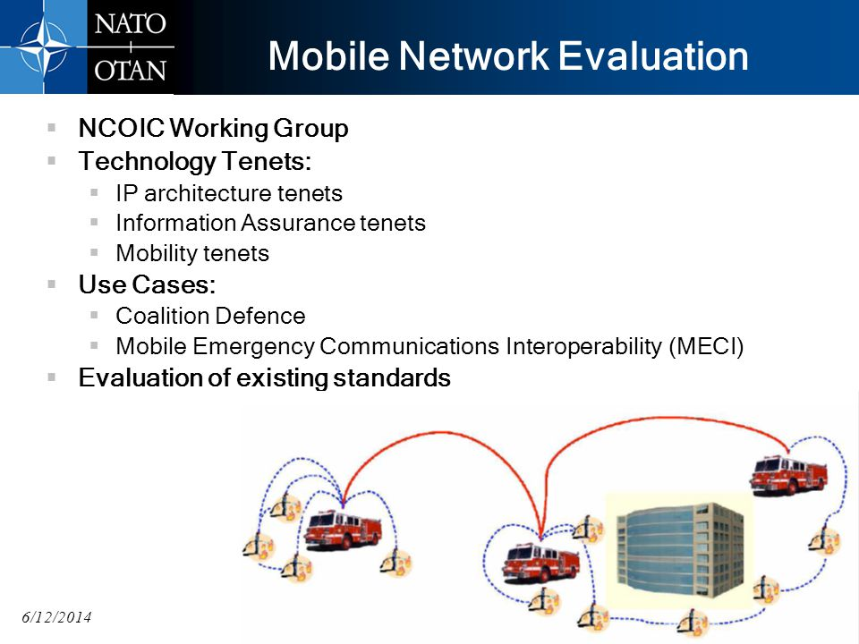 6/12/2014 Mobile Network Evaluation NCOIC Working Group Technology Tenets: IP architecture tenets Information Assurance tenets Mobility tenets Use Cases: Coalition Defence Mobile Emergency Communications Interoperability (MECI) Evaluation of existing standards 20 UNCLASSIFIED
