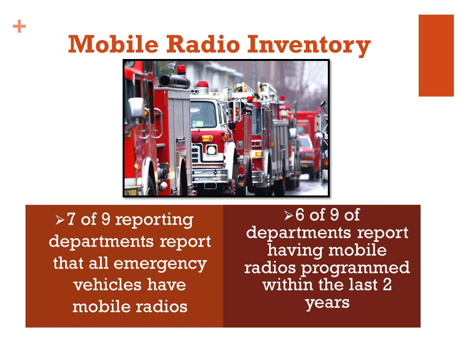 + Mobile Radio Inventory 7 of 9 reporting departments report that all emergency vehicles have mobile radios 6 of 9 of departments report having mobile radios programmed within the last 2 years