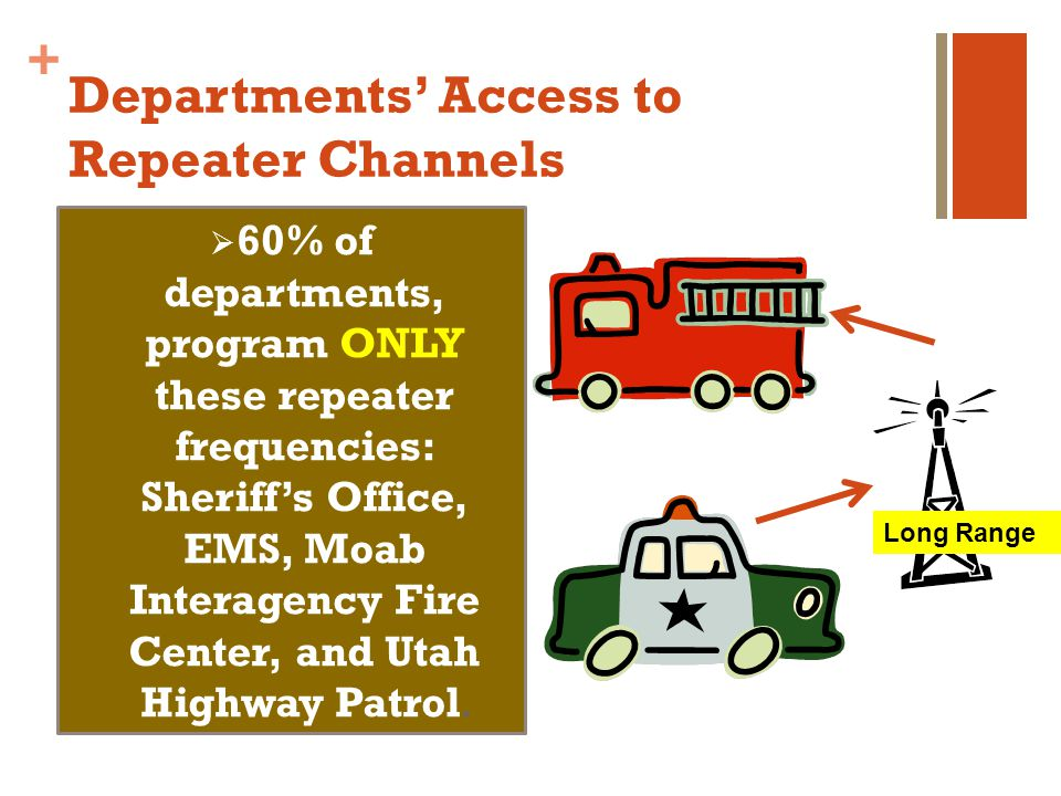+ Departments Access to Repeater Channels 60% of departments, program ONLY these repeater frequencies: Sheriffs Office, EMS, Moab Interagency Fire Center, and Utah Highway Patrol.
