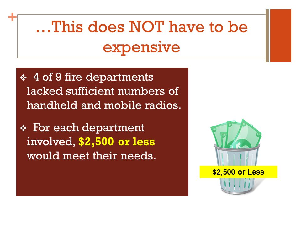 + …This does NOT have to be expensive 4 of 9 fire departments lacked sufficient numbers of handheld and mobile radios.