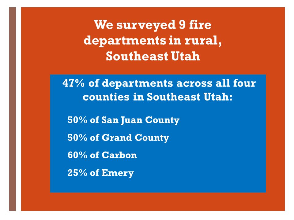 + We surveyed 9 fire departments in rural, Southeast Utah 47% of departments across all four counties in Southeast Utah: 50% of San Juan County 50% of Grand County 60% of Carbon 25% of Emery