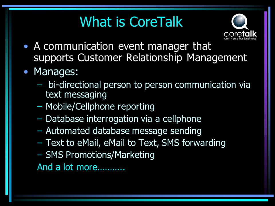 What does CoreTalk do for the GSM Network