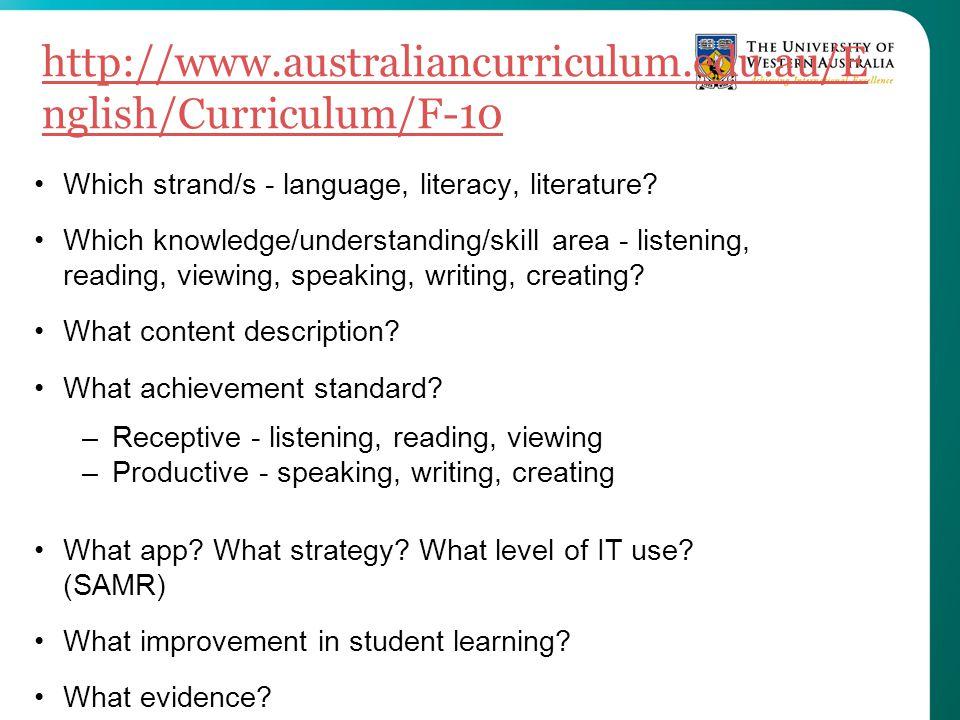 http://www.australiancurriculum.edu.au/E nglish/Curriculum/F-10 Which strand/s - language, literacy, literature? Which knowledge/understanding/skill a