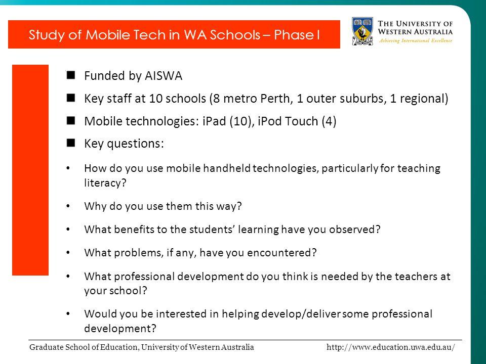 Graduate School of Education, University of Western Australia http://www.education.uwa.edu.au/ Funded by AISWA Key staff at 10 schools (8 metro Perth,
