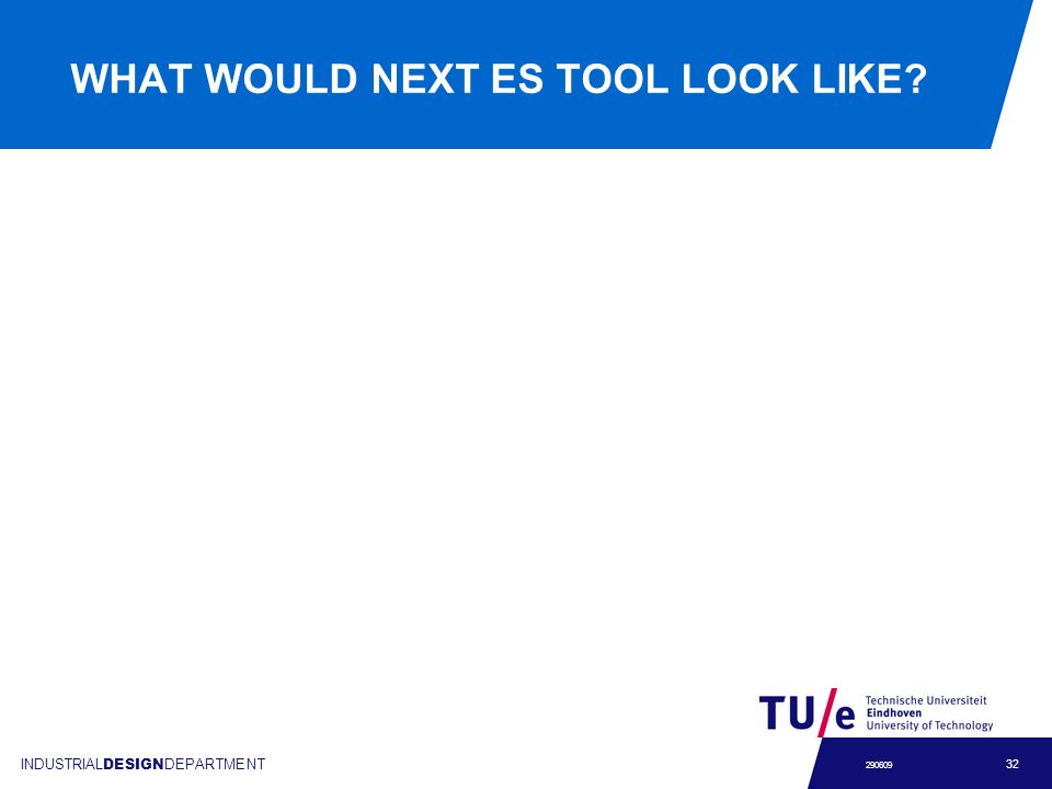 INDUSTRIAL DESIGN DEPARTMENT 32 290609 WHAT WOULD NEXT ES TOOL LOOK LIKE?