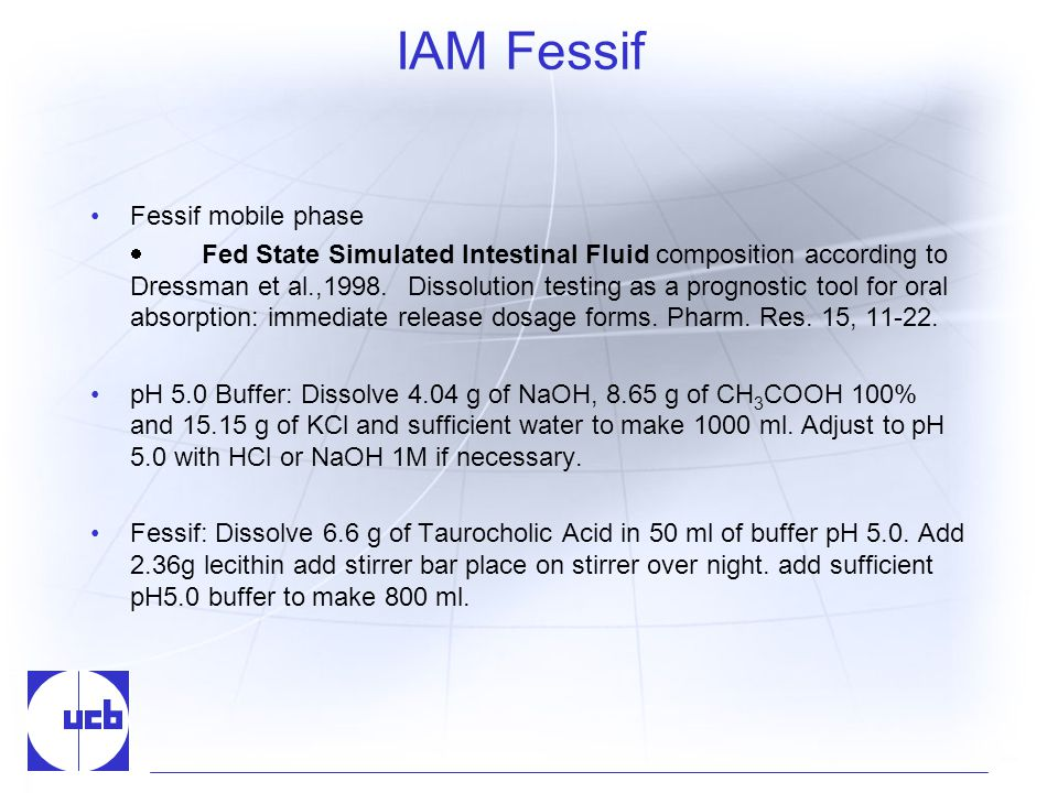 IAM Fessif Fessif mobile phase Fed State Simulated Intestinal Fluid composition according to Dressman et al.,1998.