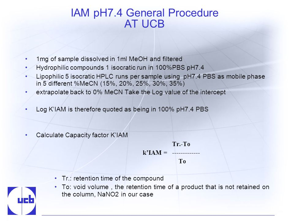 IAM pH7.4 General Procedure AT UCB 1mg of sample dissolved in 1ml MeOH and filtered Hydrophilic compounds 1 isocratic run in 100%PBS pH7.4 Lipophilic 5 isocratic HPLC runs per sample using pH7.4 PBS as mobile phase in 5 different %MeCN (15%, 20%, 25%, 30%, 35%) extrapolate back to 0% MeCN Take the Log value of the intercept Log KIAM is therefore quoted as being in 100% pH7.4 PBS Calculate Capacity factor KIAM Tr.-To kIAM = To Tr.: retention time of the compound To: void volume, the retention time of a product that is not retained on the column, NaNO2 in our case