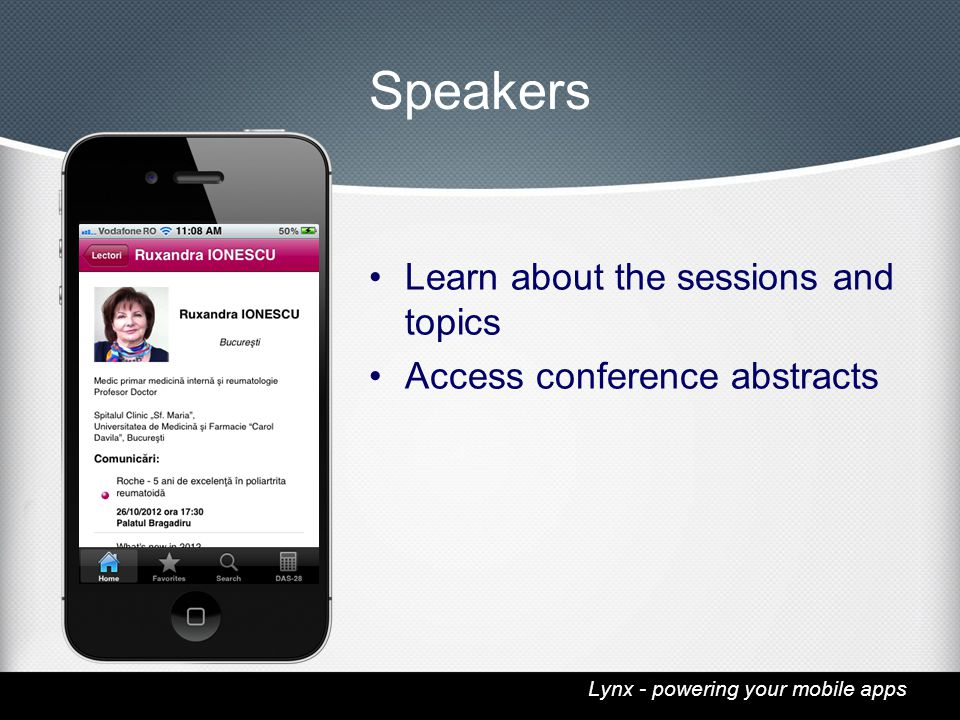Lynx - powering your mobile apps Speakers Learn about the sessions and topics Access conference abstracts
