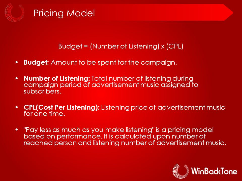 Pricing Model Budget = (Number of Listening) x (CPL) Budget: Amount to be spent for the campaign.